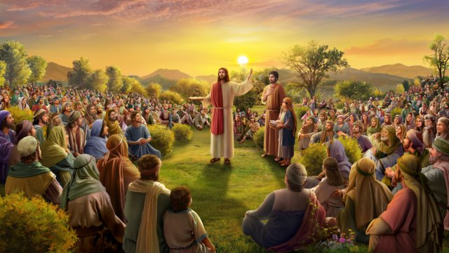 Lord Jesus feeding five thousand people with five loaves and two fish