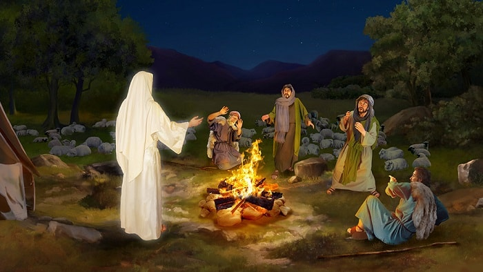 Shepherds see God's messenger,the Lord Jesus was born