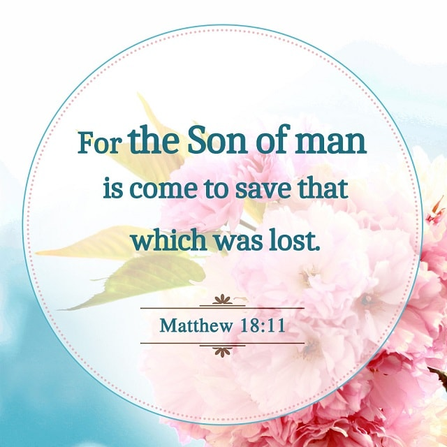 For the Son of Man Is Come to Save That Which Was Lost — Matthew 18:11