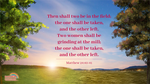 Matthew 24:40-41 - Then shall two be in the field; the one shall be taken, and the other left. Two women shall be grinding at the mill; the one shall be taken, and the other left.