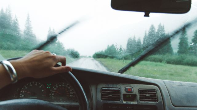 Driving a car in the rain