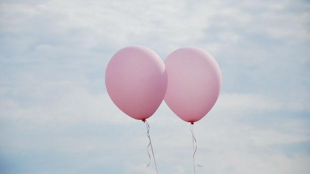 two helium balloons