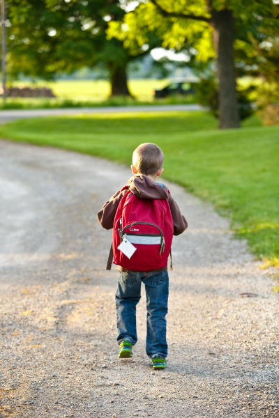 Little boy carrying a school bag