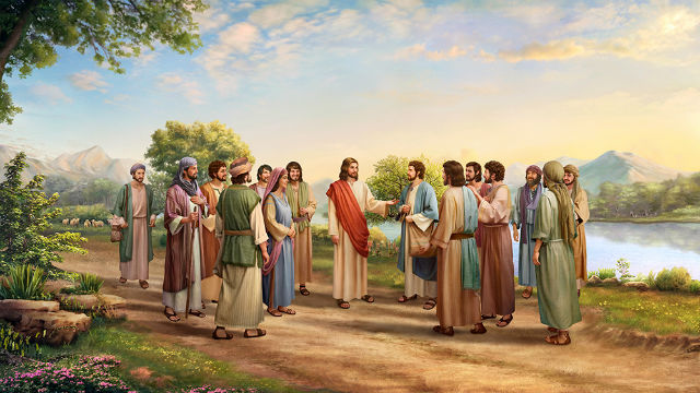 The Lord Jesus and his disciples are talking