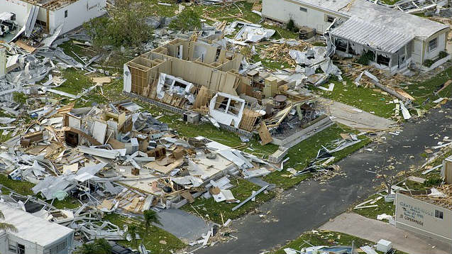 The house was destroyed by the hurricane