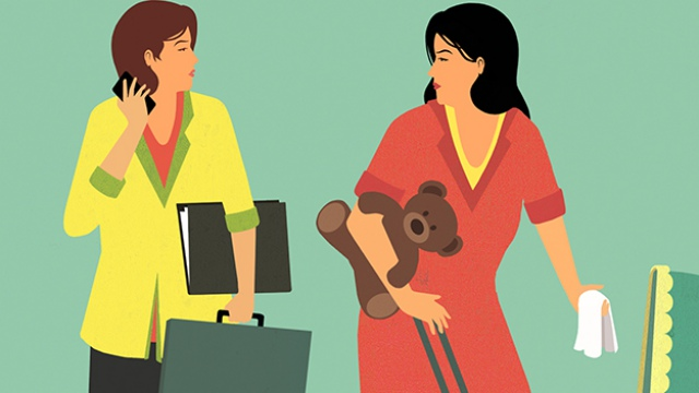 an office lady and a stay-at-home mother