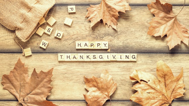 Happy Thanksgiving - Dry foliage and inscription