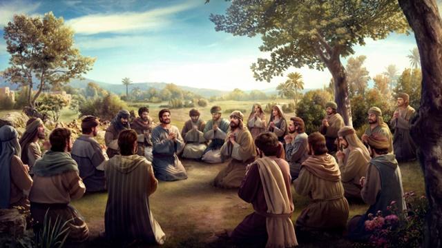 Apostles and believers pray